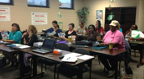 Students at computer desks