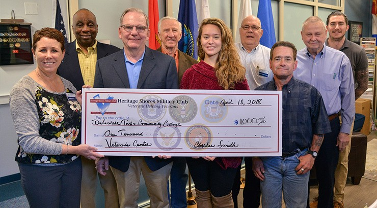 Presentation of $1,000 check to Delaware Tech