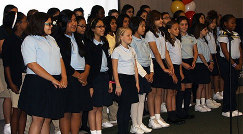 Girls from Las Americas ASPIRA Academy entertained the crowd with music and dancing.