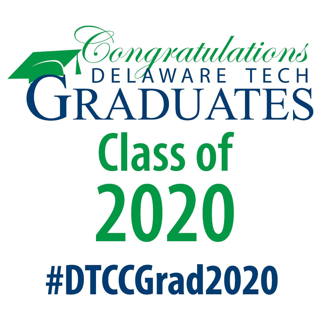 Graphic for Instagram with text that says Congratulations Delaware Tech Graduates Class of 2020