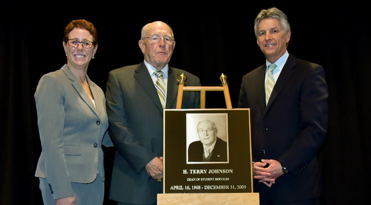 H. Terry Johnson, was inducted into the Owens Campus Hall of Fame by Campus Director Dr. Bobbi Barends and President Dr. Mark Brainard.