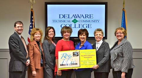 Richard Rexrode, instructor; Dr. Martha Hofstetter; Lisa Strusowski; Sandra Castro, Culinary Arts graduate who is currently enrolled in the Entrepreneurship program; Barbara Rafte; Marion Klein; and Dr. June Turansky, campus director.