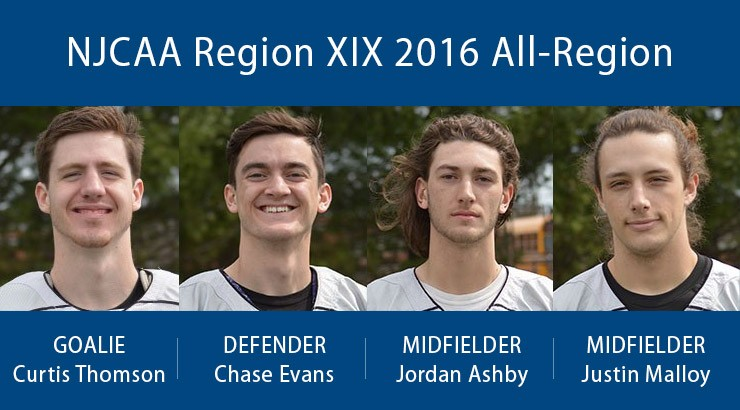 NJCAA Region XIX 2016 All-Region, Goalie Curtis Thomson, Defender Chase Evans, Midfielder Jordan Ashby, Midfielder Justin Malloy