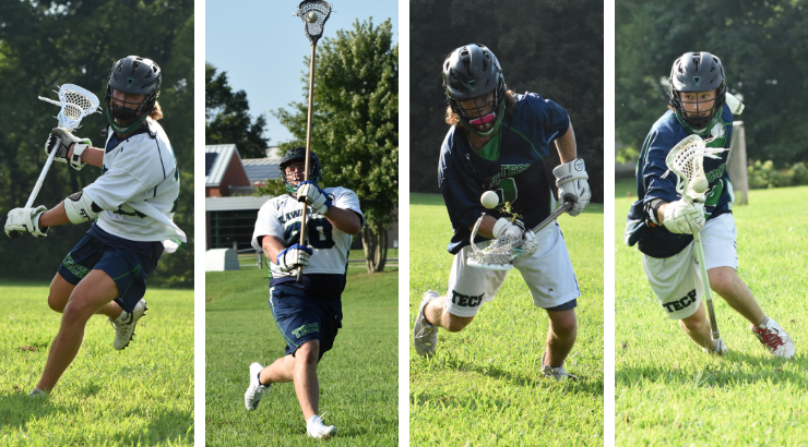 Four action shots of lacrosse players