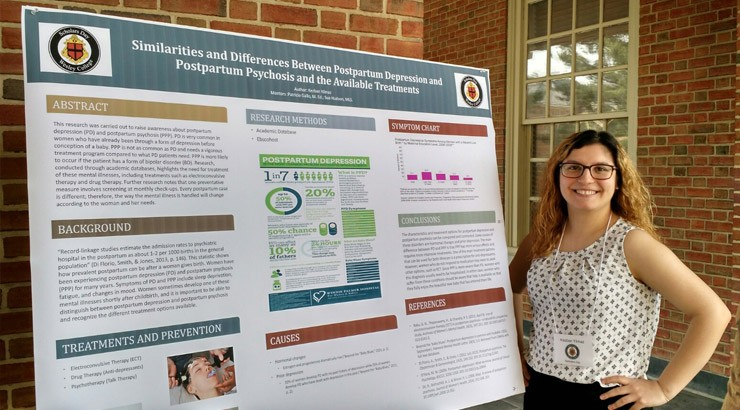 Kezban Yilmaz was among five Delaware Tech students who participated in a poster presentation session during Scholars Day at Wesley College.