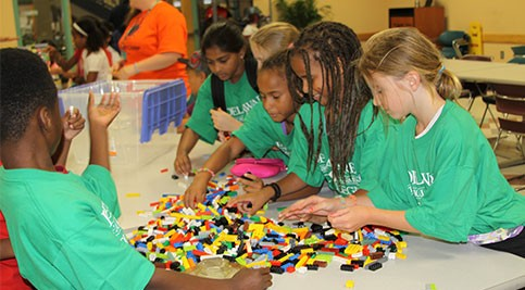 Kids camp students build with Legos