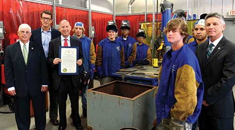 Governor Markell visited Delaware Tech's Innovation and Technology Center to introduce a proclamation