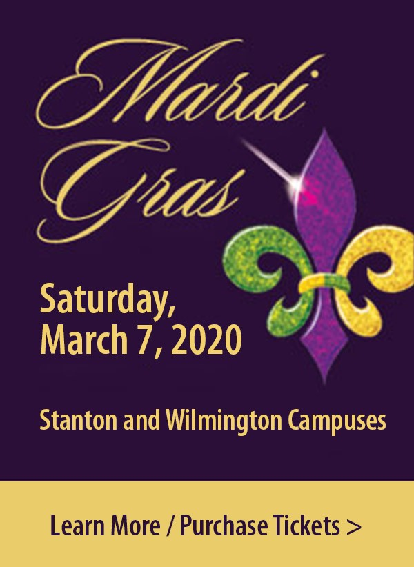 Link to Mardi Gras Saturday, March 7, 2020. Stanton and Wilmington Campuses. Purchase Tickets.