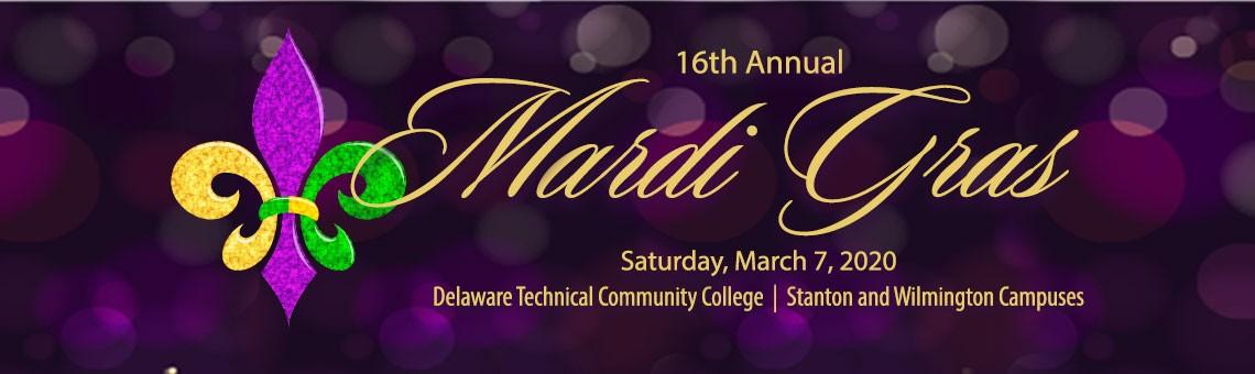 16th Annual Delaware Tech Mardi Gras, Saturday, March 7, 2020