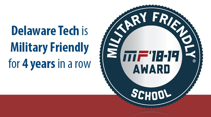 Delaware Tech is Military Friendly for 4 years in a row