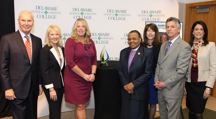 Wilmington Mayor Mike Purzycki, Lt. Governor Bethany Hall-Long, State Representative Helene Keeley, Bishop Aretha Morton, VP & Campus Director Dr. Kathy Janvier, Delaware Tech President Dr. Mark Brainard, Assistant Campus Director Dr. Lora Johnson