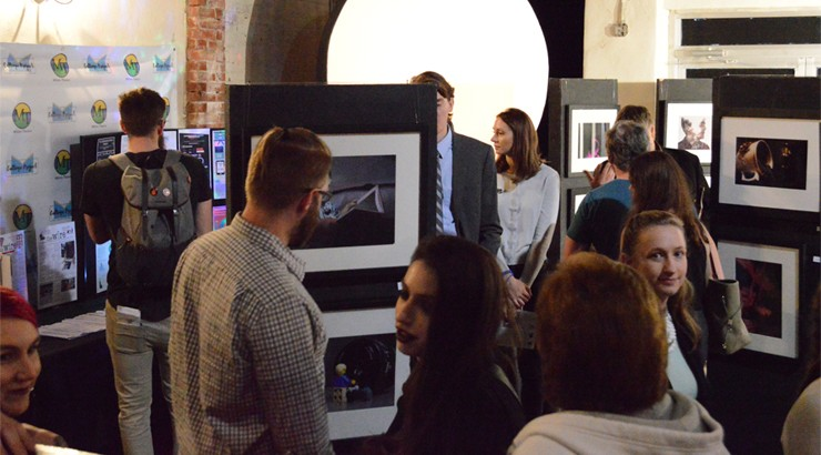 Attendees at the 2018 Multimedia Showcase Live event at the Milton Theatre browse a collection of multimedia work created by Delaware Technical Community College communications students
