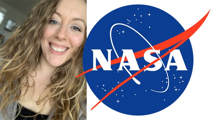 The NASA logo superimposed over a picture of Jacklyn Finnemeyer