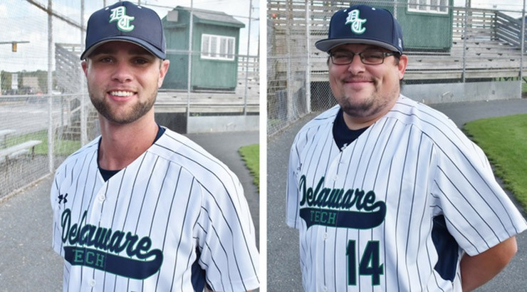Delaware Technical Community College's new head baseball coach Stu Madden, left, and assistant coach Mike DiCarlo, right.