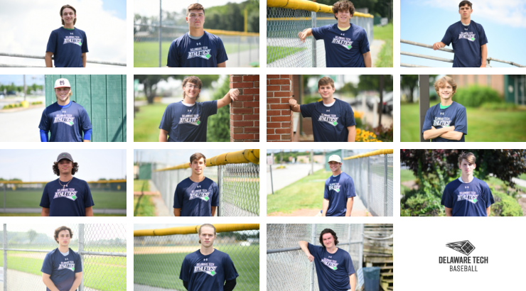 A collage of Delaware Tech Baseball players