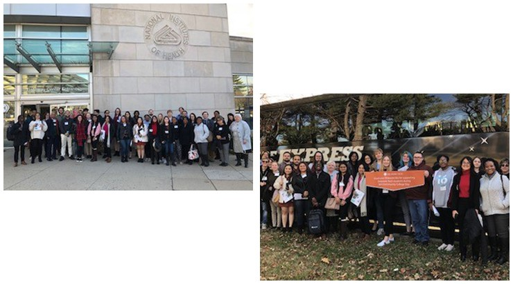 Two photos of the same group of people, one photo has the group in front of the NIH building and the other has the group in front of a large black bus