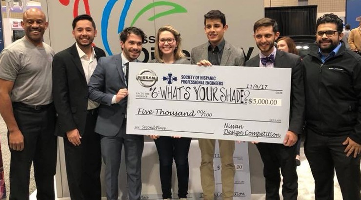 The winners of the Society of Hispanic Professional Engineers' Nissan Design Competition