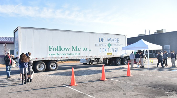 A tractor trailer from Delaware Tech's commercial transportation program being used at Sussex Academy of Arts and Science in Georgetown