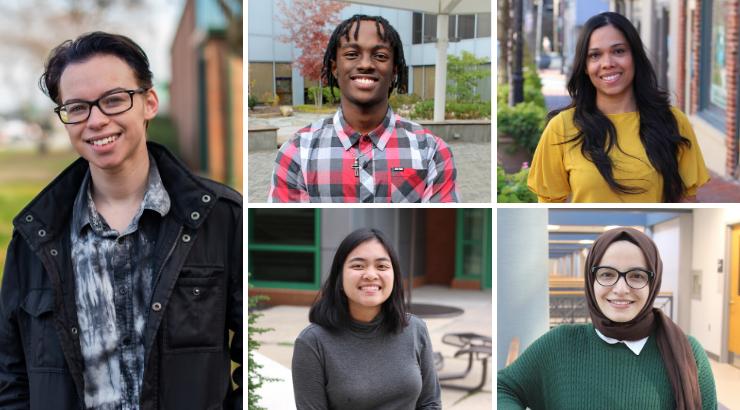 Featured student spotlight students Daniel Oster, Henry Waruiru, Jairenis Hidalgo, Katina Thongvong and Sumeyye Aydin.