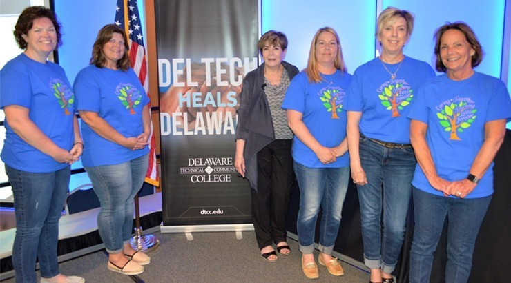 Nurse Educator Update keynote speaker Sharon Weinstein (third from left) is joined by Delaware Tech nursing faculty and event committee members, from left, Jennifer Pepper, Ann Gioia, Carrie Brannock, Pam McEvoy, and Jo Ann Baker.