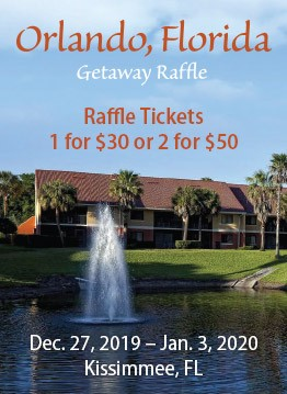 Orlando, Florida Getaway Raffle. Dec. 27, 2019 - Jan. 3, 2020, Kissimmee, FL.