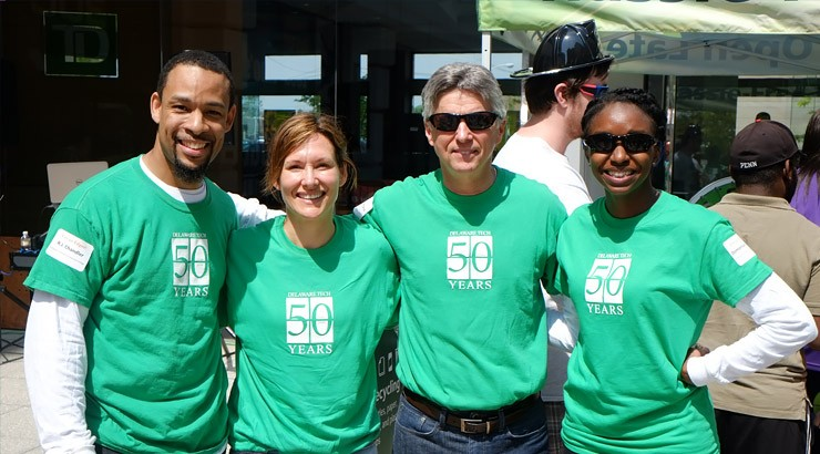 Domonique Carter, Dr. Reginald Chandler, Virginia Sticinski and team captain Delaware Tech President Mark Brainard
