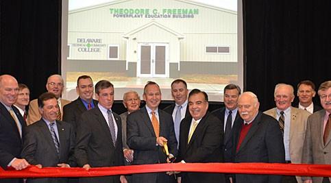 Group dedicating the Theodore C. Freeman Powerplant Education Building