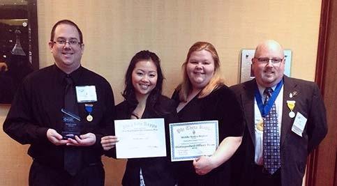 Alpha Beta Kappa members Eric Satter, Jennifer Hamblin, Riana Bright, and Jason Wallace display their awards at the Phi Theta Kappa regional conference March 2.