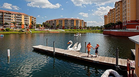 Westgate Town Center lake view with swan boats