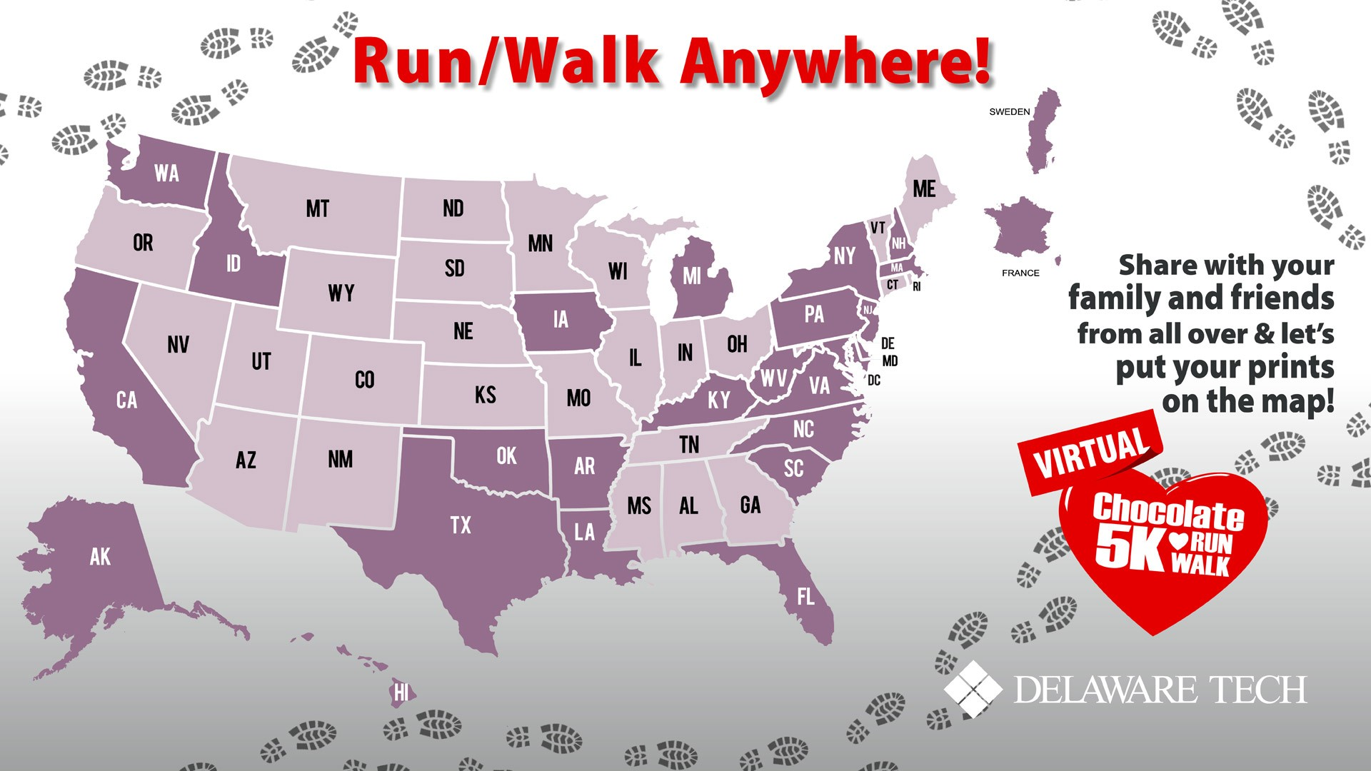Virtual Chocolate Run/Walk 5K map of participants - Delaware, Maryland, Pennsylvania, Iowa, New Hampshire, and Texas currently represented.