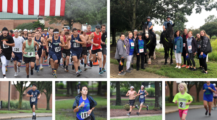 A collage of runners from the Run, Walk, and Blue event