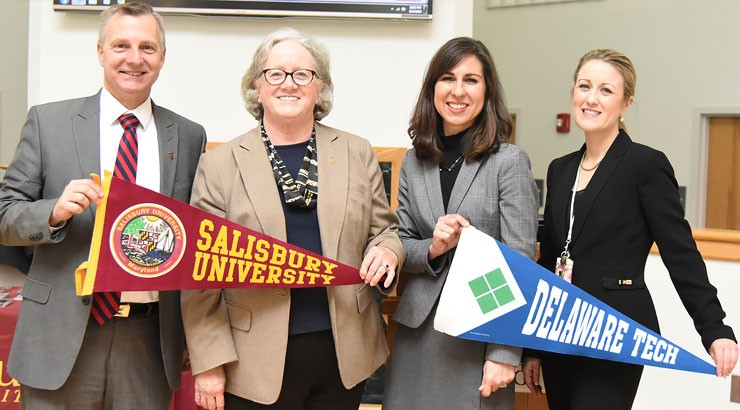 Pictured, from left, Dr. Dane Foust, vice president of student affairs, Salisbury University; and Dr. Diane Allen, provost and senior vice president of academic affairs, Salisbury University; Justina Sapna, vice president for academic affairs, Delaware Te