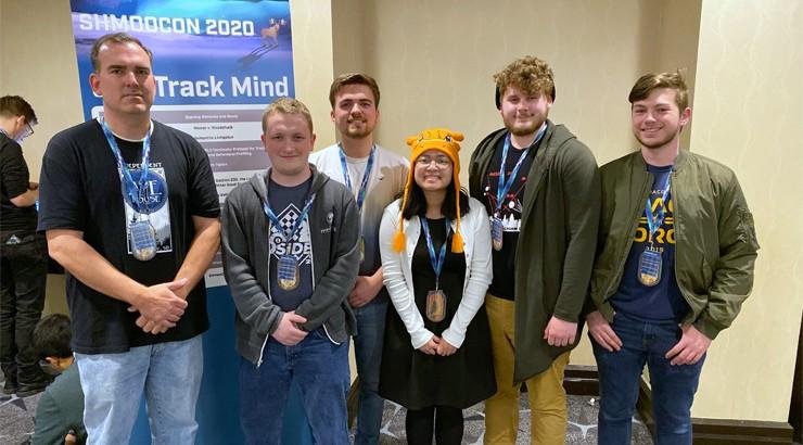 Jerrod Bates, Jeremiah Roy, Krystian Bates, Katina Thongvong, Kyle Bischof, and Matt Perrine at ShmooCon 2020