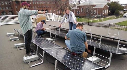 Students install solar panels at Philadelphia Navy Yard