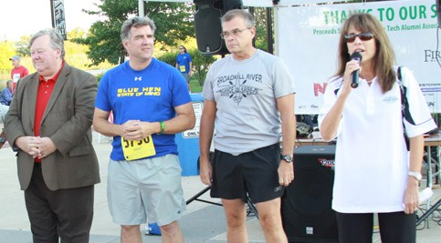 Dr. Kathy Janvier, vice president and campus director of the Stanton and George Campuses (pictured right) kicks off the 5K with the support of Representatives Stephanie Bolden, Larry Mitchell, Bryon Short and Edward Osienski.
