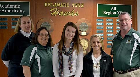 Kristine Ingram, student records technician; Head Coach Cindy Savage; Samantha Immediato, Samantha Pedicone, and Marc Laslow, assistant coach.