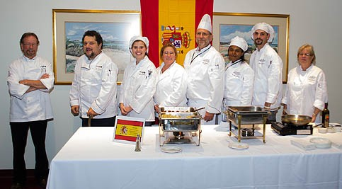 Group photo of culinary students at the Flavors of the World Food and Wine Tasting event