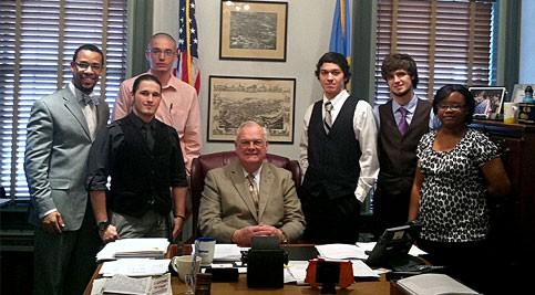 Architectural Engineering Technology students, accompanied by Dr. R.J. Chandler Sr., met with the Honorable Mayor Carleton E. Carey Sr.
