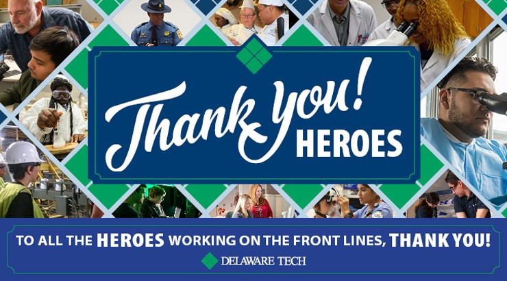 "A collage of people in the workforce with the words ""Thank you Heroes"" superimposed on top of it and at the bottom of the image text that says ""To all the heroes working on the front lines, thank you"""
