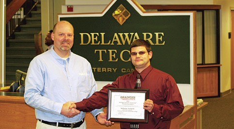 Rick Bliss, Grainger Branch Manager; and Nicholas Hampton, scholarship recipient.