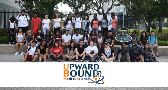 Upward Bound Math and Science logo and a group of students in the program
