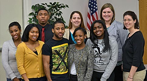 Pictured are Upward Bound alumni (back row) Stefen Mayrant, Velvet Bowen, Laura Miller-Haxton; (front row) Janae Cosby, Ashley Shockley, Jakeal Selby, Tierra Evans, Lydeasha Crawford and Upward Bound English instructor Christy Haxton-Weller.