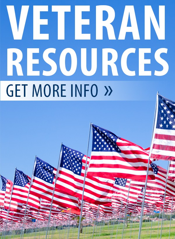 """The words """"Veteran Resources"""" overlaid on a photo of a number of American flags below a bright blue sky"""