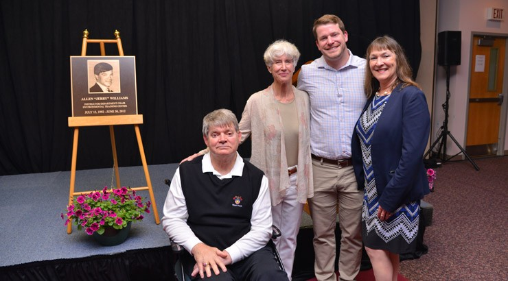 """Pictured, from left, Allen """"Jerry"""" Williams, his wife Stephanie, his son Garrett, and family friend Maribeth Dockety, director of Human Resources at the Owens Campus in Georgetown at the 2019 Hall of Fame ceremony."""