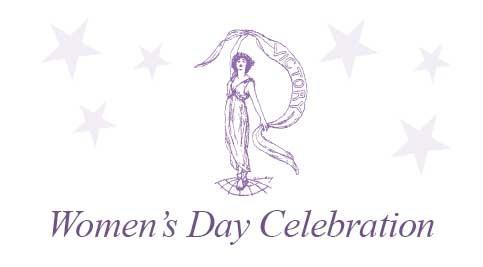 Women's Day Celebration logo - women holding banner with stars