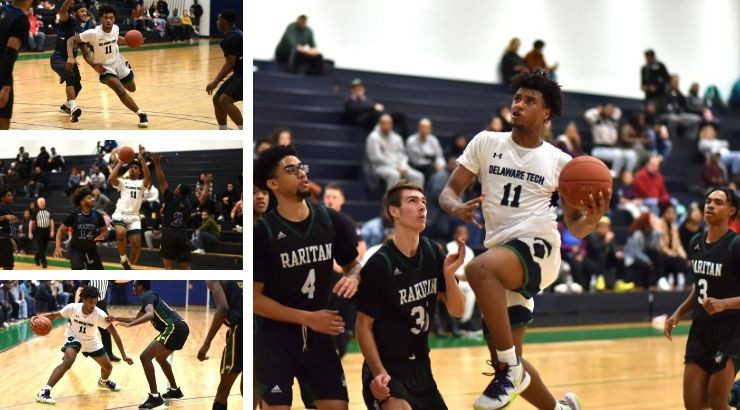 Several photos together in a collage of Yshaad Butcher playing basketball