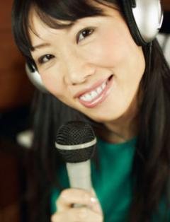 Female student with microphone