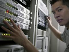 Student in server room