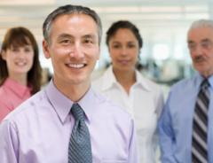 Smiling group in suits